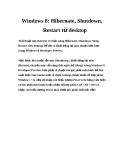 Windows 8: Hibernate, Shutdown, Restart từ desktop