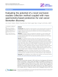 """Báo cáo y học: """"Evaluating the potential of a novel oral lesion exudate collection method coupled with mass spectrometry-based proteomics for oral cancer biomarker discovery"""""""
