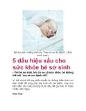 5 dấu hiệu xấu cho sức khỏe bé sơ sinh