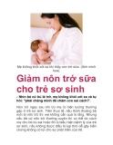 Giảm nôn trớ sữa cho trẻ sơ sinh