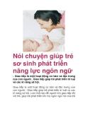 Nói chuyện giúp trẻ sơ sinh phát triển năng lực ngôn ngữ