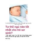 Tư thế ngủ nào tốt nhất cho trẻ sơ sinh?