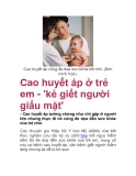 Cao huyết áp ở trẻ em - 'kẻ giết người giấu mặt'