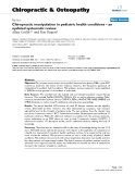 "Báo cáo y học: ""Chiropractic manipulation in pediatric health conditions – an updated systematic review"""