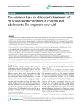 """Báo cáo y học: """"The evidence base for chiropractic treatment of musculoskeletal conditions in children and adolescents: The emperor's new suit"""""""