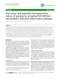 """Báo cáo y học: """"Anti-cancer and potential chemopreventive actions of ginseng by activating Nrf2 (NFE2L2) anti-oxidative stress/anti-inflammatory pathways"""""""
