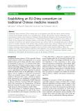 "Báo cáo y học: ""Establishing an EU-China consortium on traditional Chinese medicine research"""