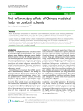 "Báo cáo y học: ""Anti-inflammatory effects of Chinese medicinal herbs on cerebral ischemia"""
