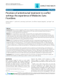 """Báo cáo y học: """" Provision of antiretroviral treatment in conflict settings: the experience of Médecins Sans Frontières"""""""