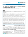 """Báo cáo y học: """" The burden of malaria in post-emergency refugee sites: A retrospective study Jamie Anderson1, Shannon Doocy1, Christophe"""""""