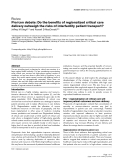"""Báo cáo y học: """"Pro/con debate: Do the benefits of regionalized critical care delivery outweigh the risks of interfacility patient transport"""""""