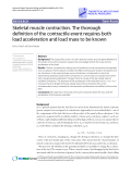 """Báo cáo y học: """" Research Skeletal muscle contraction. The thorough definition of the contractile event requires both load acceleration and load mass to be known"""""""