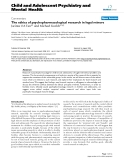 """Báo cáo y học: """"The ethics of psychopharmacological research in legal minors"""""""