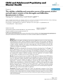 """Báo cáo y học: """"The validity, reliability and normative scores of the parent, teacher and self report versions of the Strengths and Difficulties Questionnaire in China"""""""