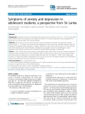 "Báo cáo y học: ""Symptoms of anxiety and depression in adolescent students; a perspective from Sri Lanka"""