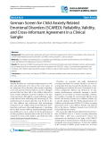 "Báo cáo y học: ""German Screen for Child Anxiety Related Emotional Disorders (SCARED): Reliability, Validity, and Cross-Informant Agreement in a Clinical Sample"""