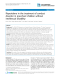 "Báo cáo y học: ""Risperidone in the treatment of conduct disorder in preschool children without intellectual disability"""