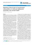 """Báo cáo y học: """" Reporting clinical trials of psychosocial interventions in child and adolescent psychiatry and mental health"""""""