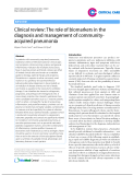 "Báo cáo y học: ""Clinical review: The role of biomarkers in the diagnosis and management of communityacquired pneumonia"""