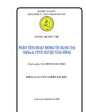 Luận văn: Phân tích hoạt động tín dụng tại NHNo & PTNT Huyện Tân Hồng.