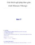 Giải thích ngữ pháp theo giáo trình Minnano NihongoBài 17II - Ngữ Pháp 1- Cách chia