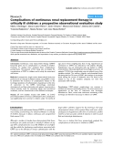 """Báo cáo y học: """"Complications of continuous renal replacement therapy in critically ill children: a prospective observational evaluation study"""""""