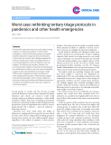 """Báo cáo y học: """" Worst case: rethinking tertiary triage protocols in pandemics and other health emergencies"""""""