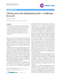 "Báo cáo y học: ""Critical care in the developing world - a challenge for us all"""