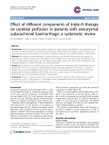 """Báo cáo y học: """"Effect of different components of triple-H therapy on cerebral perfusion in patients with aneurysmal subarachnoid haemorrhage: a systematic review"""""""
