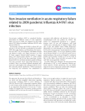 """Báo cáo y học: """"Non-invasive ventilation in acute respiratory failure related to 2009 pandemic Influenza A/H1N1 virus infection"""""""