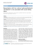 """Báo cáo y học: """"Resuscitation with low volume hydroxyethylstarch 130 kDa/0.4 is not associated with acute kidney injur"""""""