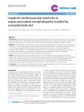 "Báo cáo y học: "" Impaired cerebrovascular reactivity in sepsis-associated encephalopathy studied by acetazolamide test"""