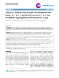 """Báo cáo y học: """" Effects of different fibrinogen concentrations on blood loss and coagulation parameters in a pig model of coagulopathy with blunt liver injury"""""""