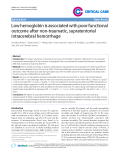 """Báo cáo y học: """" Low hemoglobin is associated with poor functional outcome after non-traumatic, supratentorial intracerebral hemorrhag"""""""