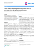 """Báo cáo y học: """"Heparin algorithm for anticoagulation during continuous renal replacement therapy"""""""