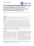 "Báo cáo y học: ""Surviving meningococcal septic shock in childhood: long-term overall outcome and the effect on health-related quality of life"""