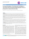 """Báo cáo y học: """" Increased duration of mechanical ventilation is associated with decreased diaphragmatic force: a prospective observational study"""""""