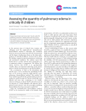 """Báo cáo y học: """"Assessing the quantity of pulmonary edema in critically ill children"""""""