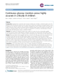 """Báo cáo y học: """"Continuous glucose monitors prove highly accurate in critically ill children"""""""