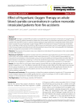 """Báo cáo y học: """"Effect of Hyperbaric Oxygen Therapy on whole blood cyanide concentrations in carbon monoxide intoxicated patients from fire accident"""""""