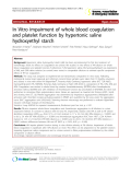 """Báo cáo y học: """" In Vitro impairment of whole blood coagulation and platelet function by hypertonic saline hydroxyethyl starch"""""""