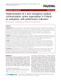 """Báo cáo y học: """" Implementation of a new emergency medical communication centre organization in Finland an evaluation, with performance indicators"""""""