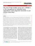 """Báo cáo y học: """"The role of high-mobility group box-1 (HMGB-1) in the management of suspected acute appendicitis: useful diagnostic biomarker or just another blind alley?"""""""