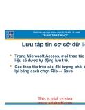 giáo trình access:Lưu tập tin cơ sở dữ liệu