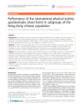 """Báo cáo y học: """" Performance of the international physical activity questionnaire (short form) in subgroups of the Hong Kong chinese population"""""""