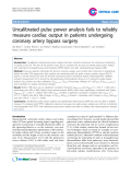"""Báo cáo y học: """"Endothelial Uncalibrated pulse power analysis fails to reliably measure cardiac output in patients undergoing coronary artery bypass surger"""""""