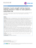 """Báo cáo y học: """" Inspiratory muscle strength training improves weaning outcome in failure to wean patients: a randomized trial"""""""