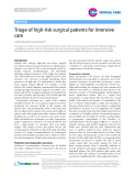 """Báo cáo y học: """" Triage of high-risk surgical patients for intensive care"""""""