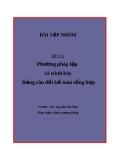 Bài tập nhóm: Phương pháp lập và trình bày Bảng cân đối kế toán tổng hợp