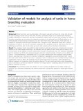 """Báo cáo sinh học: """" Validation of models for analysis of ranks in horse breeding evaluation"""""""